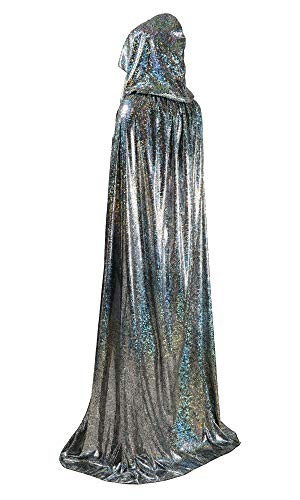 OurLore Unisex Full Length Hooded Cape Halloween Christmas Adult Cloak (Large, Silver) -