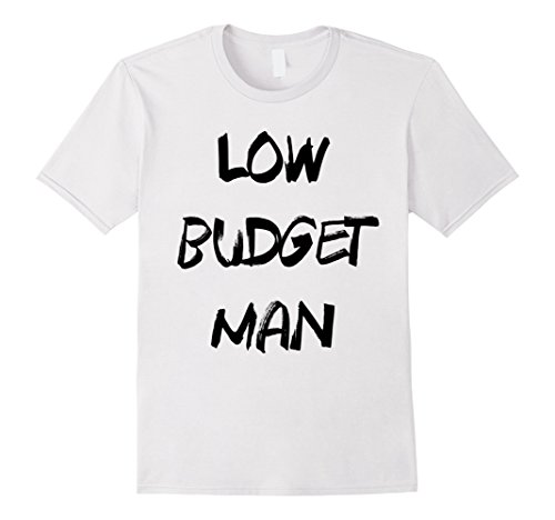 [Mens Cheap Halloween Costume Low Budget Man Funny T-Shirt XL White] (Trash Bag Costume)