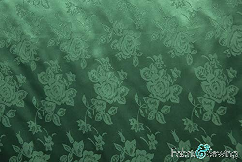 Green Rose Flower Brocade Jacquard Charmeuse Satin Fabric Polyester 4 Oz 58-60