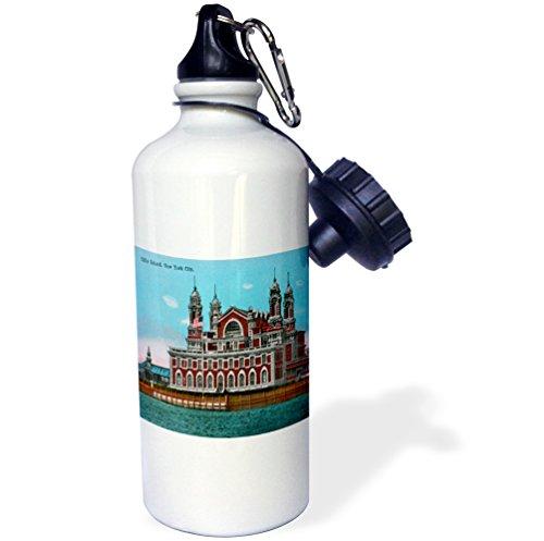 Ellis Island New York Harbor - 3dRose wb_170126_1 Ellis Island, New York City Vintage Postcard Reproduction Sports Water Bottle, Multicolor, 21 oz
