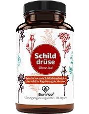 BonVigo® Capsules met schildklier - normale schildklierfunctie*, hormonen regulen** - Orthomoleculair complex: Ashwagandha, yams, beerslang, L-tyrosin, selen, zink, ijzer, vitamines A-B-D-E