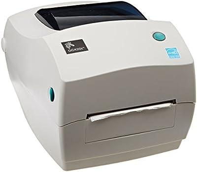 "Zebra GC420t Monochrome Desktop Direct Thermal/Thermal Transfer Label Printer, 4""/s Print Speed, 203 dpi Print Resolution, 4.09"" Print Width, 110-240V AC"