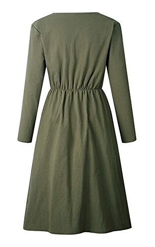 Oops Sleeve Down Long Women's with Dress Casual Army Button Long Swing Midi Style Dresses Sleeve Green Pockets 0018 00qwTRr