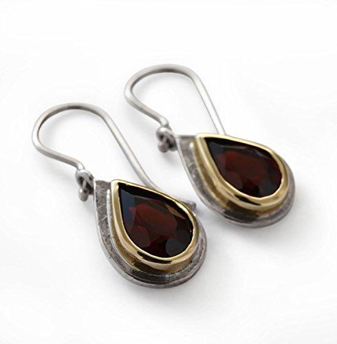 - Two tone Garnet teardrop earrings