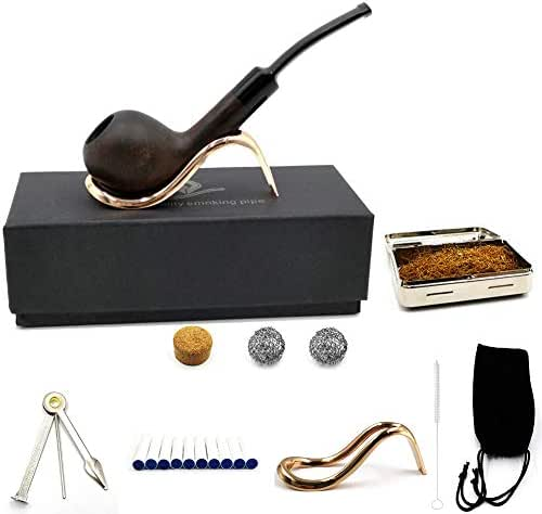 Luxury Tobacco Smoking Pipe Set/Handmade Imports Ebony Wood/Stainless Steel Pipe Display Holder, 3-in-1 Scraper and Other Smoking Accessories