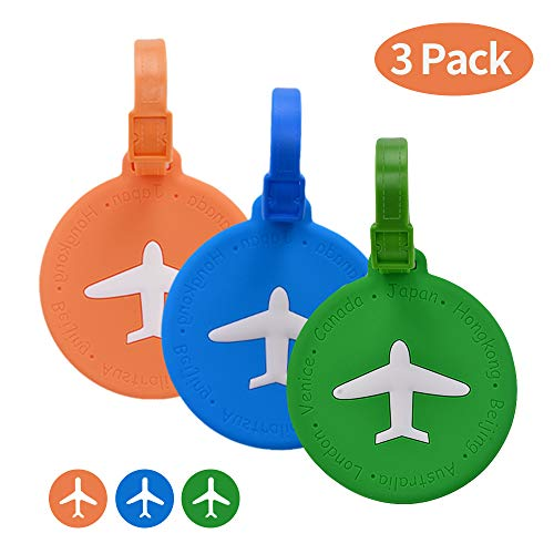 Travel Luggage Tags For Suitcases, Flexible Silicone Travel ID Identification Labels Set For Bags & Baggage (3 Pcs Round Multiple Colors)