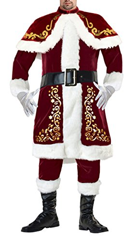 Lusiya Men's Plus Size Santa Christmas Costume Dark-red Large -