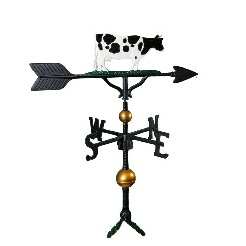Montague Metal Products 32-Inch Deluxe Weathervane with Color Cow Ornament by Montague Metal Products