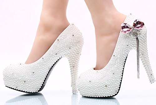 Scarpe da sposa YCMDM matrimonio da sposa perla rosa farfallino nappa SCARPE DONNA Large Size , 14 cm with high reservation , 34