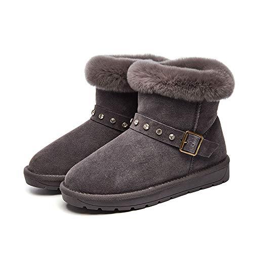 autunno C ecc grigio Stivali velluto all'aperto di con da attività da scarpe fibbie n inverno donna neve BrUPBwq