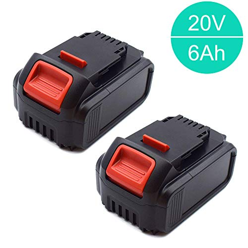 2x Murllen 6.0Ah 20v Battery Replacement Lithium for Dewalt 20v Max XR DCB206 DCB204 DCB205 DCB205-2 DCB200 DCB180 DCD985B DCD771C2 DCS355D1 DCD790B