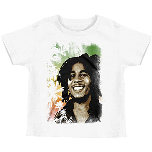 (Bob Marley Portrait & Palm Trees Toddler T-shirt - White (2T))