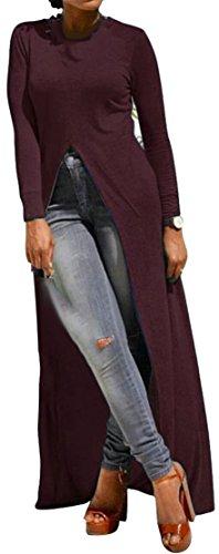 Les Femmes Cromoncent Manches Longues Balançoire Irrégulière Split Robes Maxi Élégant Red1