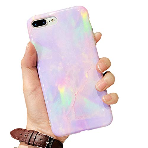 J.west iPhone 8 Plus Case, iPhone 7 Plus Case, Pattern Printed Bumper Slim TPU Soft Rubber Silicone Cover Anti-Scratch Thin Back Protective Phone Case Cover for iPhone 7 Plus/8 Plus (Purple Opal)