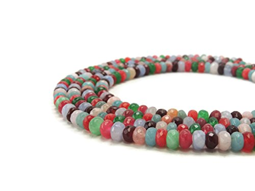 Jade Faceted Oval Beads (Multi Jade Rondelle Faceted Gemstone Beads 8mm)