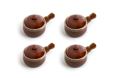 French Soup - Fox Run 11709 Set of 4 Ceramic French Onion Soup Bowls, Ceramic Soup Bowl With Handle, Microwave Safe, Brown, 16 Ounce, (Set of 4)