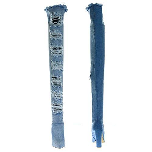 Bambù Sfilacciato Tacco Tagliato Ginocchio A Distrutto E Punta Alta W Punta wBq4IxCd