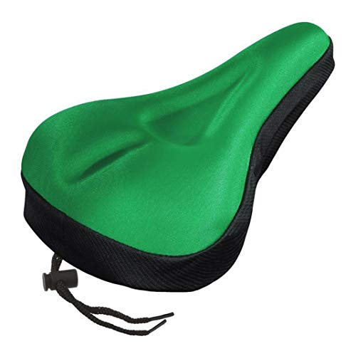 (piRA8, Saddle, Bicycle Accessories, Bike Saddle Silicone Breathable Soft Cycling Bicycle Gel Cushion Pad Seat Cover - Green for Oudoor, Cycling, Sports.)