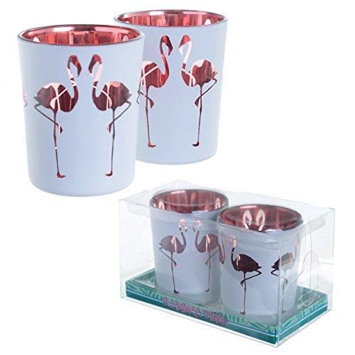 Flamingo Candle Holder (Flamingo Design Set of 2 Glass Tea Light Holders)
