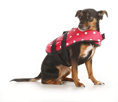 (Seachoice 86360 Dog Life Vest - Adjustable Life Jacket for Dogs, with Grab Handle, Pink Polka Dot, Size XXS, up to 6 Pounds, XXS - up to 6 lbs)