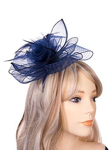JASMINO Fascinators Hats Women Tea Party Headband Derby Fancy Hats with Hair Clip Wedding Cocktail Headwear for Girl (Navy Blue)