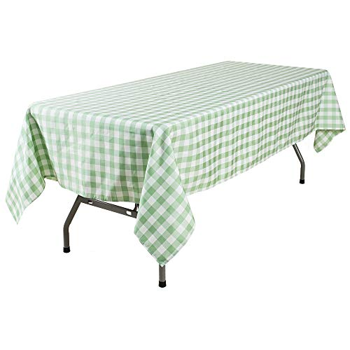 YRYIE 60 x 102 Inch Rectangle Polyester Plaid Tablecloth Light Green Gingham for Rectangular Table Washable Solid Table Cloth for Buffet Table,Parties,Holiday Dinner
