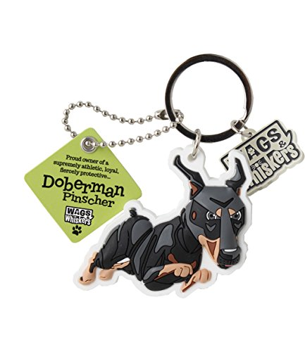 Wags and Whiskers Doberman Pinscher Key Chain with Keyring/Key Holder (886767110554)