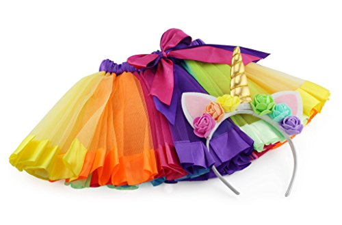 Just Dance Halloween Costume (Girls Rainbow Ribbon Tutu Skirt for Dress Up, Ballet, or Costume Photos with Unicorn Flower Headband for Little Pony Fun)