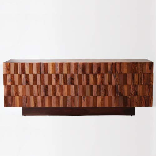 Global Views Elegant Solid Teak Wood Media Cabinet   Contemporary Squares Geometric Retro