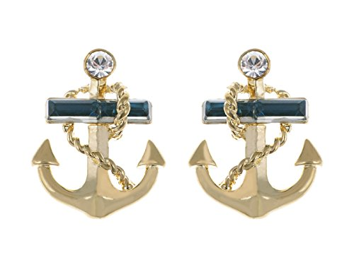 Alilang Golden Tone Blue Crystal Rhinestone Nautical Anchor Stud Earrings
