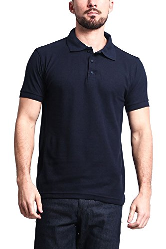 G-Style USA Men's Solid Color Carded Pique Classic Polo Shirt PL600C - Navy - X-Large