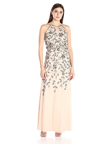 Gown Women's Long Taupe Pink Adrianna Beaded Papell Halter Sleevless FY4xZS