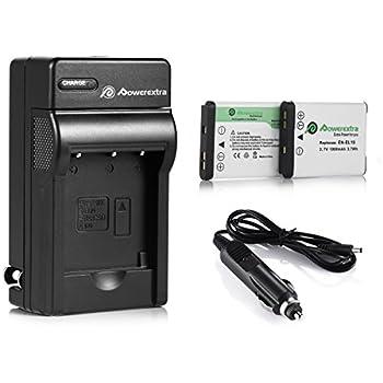 Powerextra 2 x batteries + Charger EN-EL19 for Nikon Coolpix S32, S100, S2800, S3200, S3300, S3500, S3600, S4100, S4200, S4300, S5200, S5300, S6500, S6600, S6800,S6900,S7000 as Sony NP-BJ1 DSC-RX0