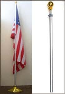 8pies Banner de aluminio residencial interior bandera poste base de bola con oro 3x 5Estados Unidos flecos
