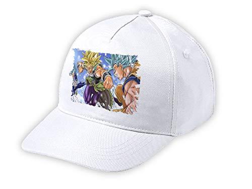 MERCHANDMANIA Gorra NI/ÑO PELICULA Broly VS Goku Vegeta Dios Blanca Kid Cap