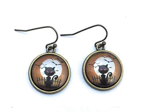 Halloween Spooky Black Cat Dangle Earrings - -