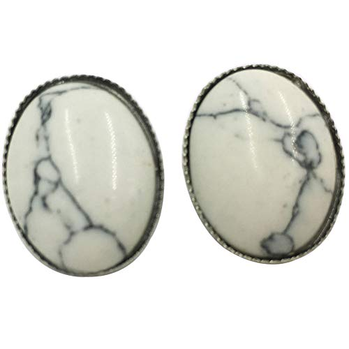 Jewelry58718 Fashion White Howlite Oval Clip Earrings