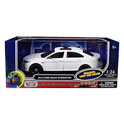 2013 Ford Police Interceptor with Flashing Lights and Two Sounds Plain White 1/24 Diecast Model Car by Motormax 79538: Toys & Games