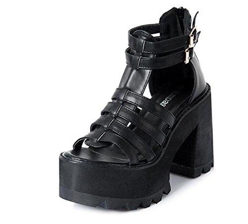 toe dei sandali degli ruvido dita fibbia talloni Black talloni nere Donne impermeabile piattaforma peep alti Scarpe della scarpe GLTER tallone Pqv7Xwtx
