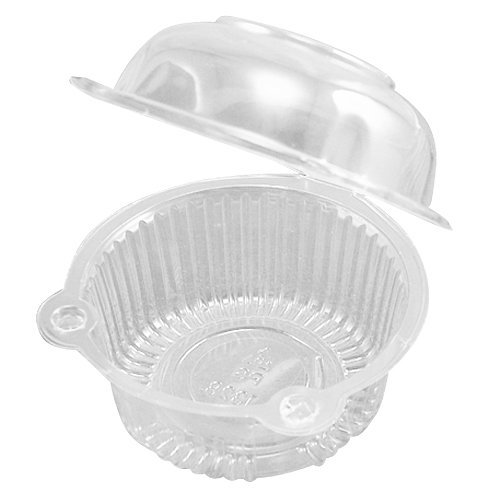 SODIAL 50 x Single Plastic Clear Cupcake Holder / Cake Container Dome Muffin Carrier