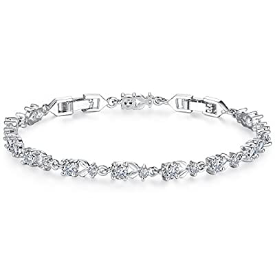 WOSTU Women Tennis Bracelets Luxury White Gold Plated Bracelet with Sparkling Cubic Zirconia Xmas Gifts for Her