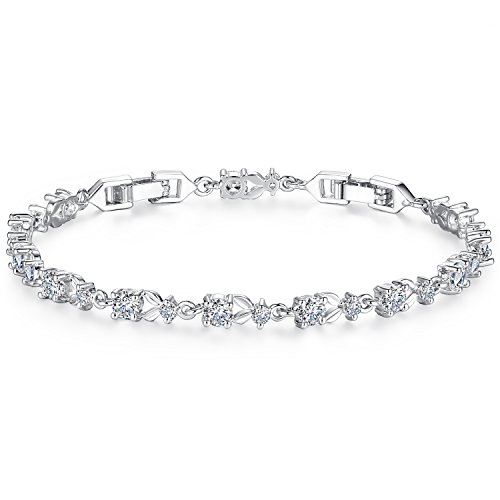 (WOSTU Women Tennis Bracelets Luxury White Gold Plated Bracelet with Sparkling Cubic Zirconia Anniversary Gifts for her)