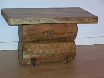 RUSTIC SOLID WOODEN LOG CARVED SLAB COFFEE TABLE