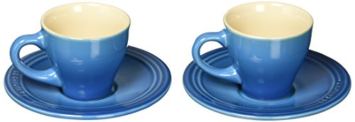 Le Creuset Stoneware Set of 2 Espresso Cups and Saucers, Marseille