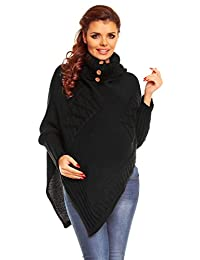 Zeta Ville Maternity Womens Chunky Cable Knit Sweater Poncho Rolled Neck - 312Ac