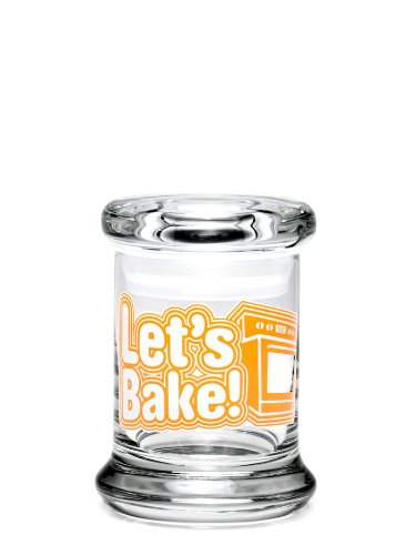 Large Glass Pop-Top 420 Jar - Let's Bake Decal - Storage For Herbs & Spices