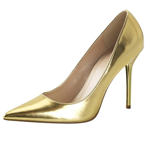 Heels-Perfect - Zapatos de vestir de Material Sintético para mujer Dorado - Gold (Gold)