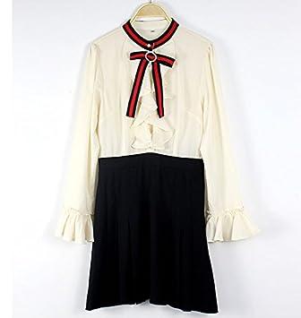Mayihang Blusa Camisa Moda Vestido,Lotus Leaf,camisa de manga larga,una falda