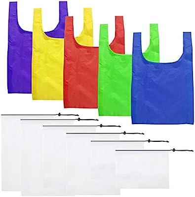 Paquete de 5 bolsas de compra reutilizables y paquete de 6 ...