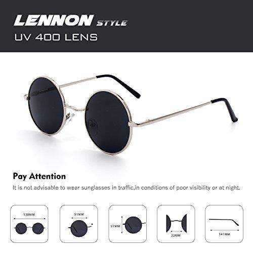 rond Gris vintage du style lunettes E01 51mm cercle polarisées en CGID de métallique Lennon soleil Argenté inspirées retro xR6fq4AwA